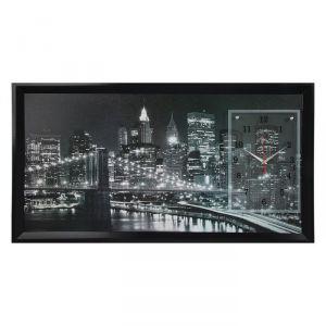 """Часы-картина настенные, серия: Город, """"Ночной Нью-Йорк"""", черно-белый 50х100  см, микс 1210536"""