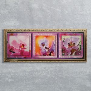 """Часы-картина настенные, серия: Цветы, """"Орхидея на желтом фоне"""", 35х100  см, микс 1210481"""