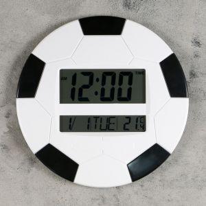 """Часы настенные электронные """"Футбольный мяч"""" с календарём и термометром, 26х26 см, микс 2590509"""