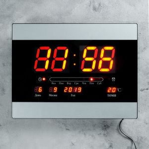 Часы настенные электронные с календарём и будильником, красные цифры, 40х30х5 см 1418800