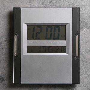 Часы настенные электронные с календарём и термометром, 23х26 см, микс 2590508