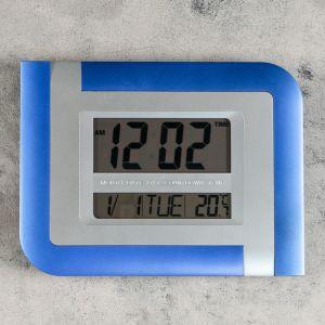 Часы настенные электронные с календарем, таймером и термометром, 26х20х3 см, микс 1385496