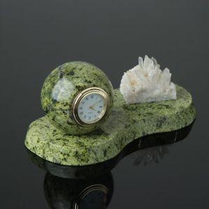 """Часы """"Шар"""", на подставке, с минералом, 20х10х9 см, змеевик 4204309"""
