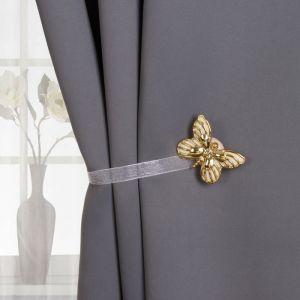Подхват для штор «Бабочка», цвет золотой/белый