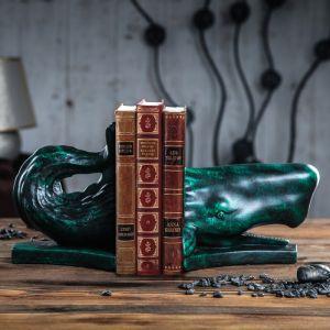 """Держатель для книг """"Кит"""", 40 см, зелёный мрамор"""