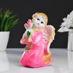 "Фигура ""Ангел Девочка с цветами"" 9х10х14 см  розовый 286844"