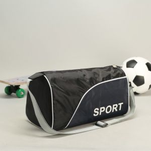 Сумка спортивная, отдел на молнии, длинный ремень, цвет чёрный/тёмно-синий