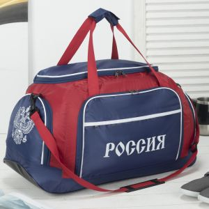 Сумка дорожная, отдел на молнии, 3 наружных кармана, длинный ремень, цвет синий/красный