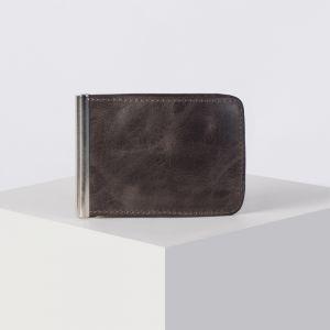 Зажим для денег с металлическим держателем, цвет коричневый