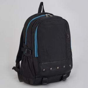 Рюкзак туристический, 2 отдела на молниях, наружный карман, 2 боковые сетки, усиленная спинка, цвет чёрный/синий