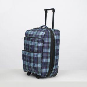 """Чемодан малый 20"""", отдел на молнии, с расширением, наружный карман, 2 колеса, цвет синий/чёрный"""