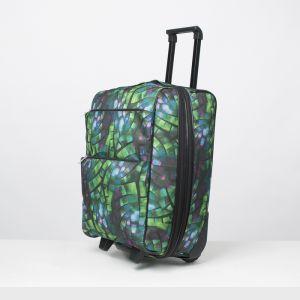 """Чемодан малый 20"""", отдел на молнии, с расширением, наружный карман, 2 колеса, цвет разноцветный"""