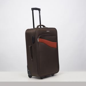 """Чемодан средний 24"""", отдел на молнии, наружный карман, кодовый замок, 2 колеса, цвет коричневый"""
