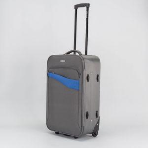 """Чемодан средний 24"""", отдел на молнии, наружный карман, 2 колеса, кодовый замок, цвет серый"""