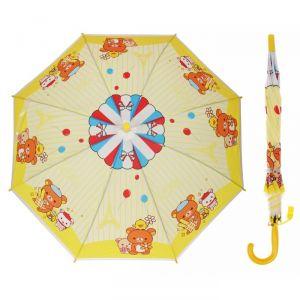 Зонт детский «Мишка с друзьями», полуавтоматический, со свистком, r=40см, цвет жёлтый