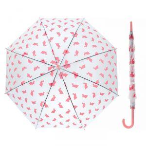 Зонт детский «Кролики», полуавтоматический, r=45см, цвет розовый/прозрачный