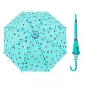 Зонт детский полуавтоматический «Поцелуй», r=45см, цвет голубой/малиновый