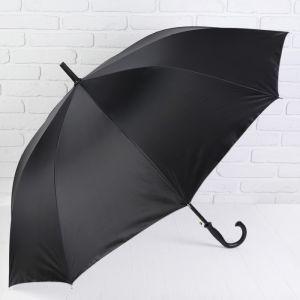 Зонт - трость полуавтоматический «Однотонный», 10 спиц, R = 56 см, цвет чёрный/серебряный
