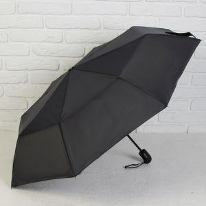Зонт автоматический, 3 сложения, 8 спиц, R = 49 см, цвет чёрный