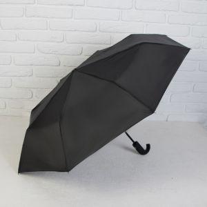 Зонт автоматический, 3 сложения, 8 спиц, R = 50 см, цвет чёрный