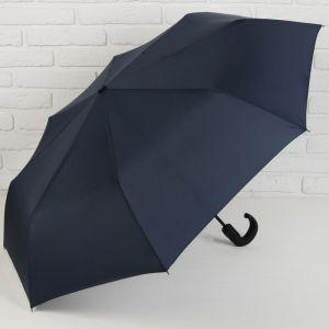 Зонт автоматический «Однотонный», 3 сложения, 8 спиц, R = 51 см, цвет синий
