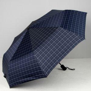 Зонт автоматический «Клетка», 3 сложения, 8 спиц, R = 51, цвет синий
