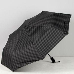 Зонт автоматический «Клетка», 3 сложения, 8 спиц, R = 51, цвет серый