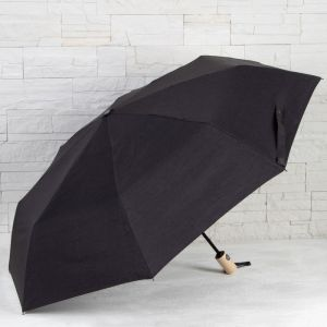 Зонт автоматический «Однотонный», 3 сложения, 8 спиц, R = 52 см, цвет чёрный