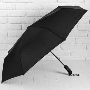 Зонт автоматический «Однотонный», 3 сложения, 8 спиц, R = 55 см, цвет чёрный