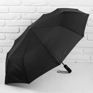 Зонт полуавтоматический, 3 сложения, 10 спиц, R = 50 см, цвет чёрный
