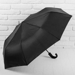 Зонт полуавтоматический, 3 сложения, 8 спиц, R = 50 см, цвет чёрный