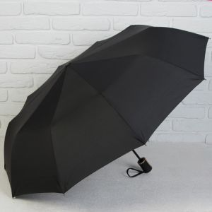 Зонт автоматический, 3 сложения, 10 спиц, R = 48 см, цвет чёрный