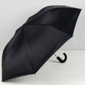 Зонт полуавтоматический «Однотонный», 3 сложения, 8 спиц, R = 47 см, цвет чёрный