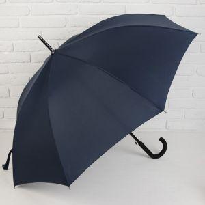 Зонт полуавтоматический «Однотонный», 8 спиц, R = 56 см, цвет тёмно-синий