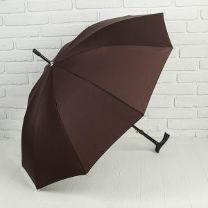 Зонт - трость полуавтоматический «Однотонный», 10 спиц, R = 51 см, цвет коричневый