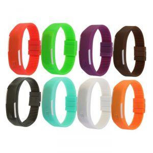 """Часы наручные """"Цифры"""", электронные, обрезной силиконовый ремешок, МИКС, l=26 см 2319270"""