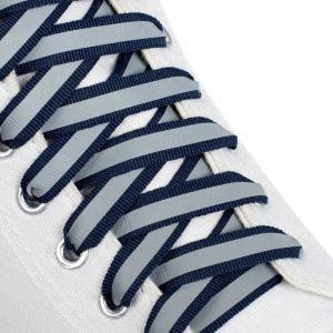 Шнурки для обуви, пара, плоские, со светоотражающей полосой, 10 мм, 120 см, цвет тёмно-синий