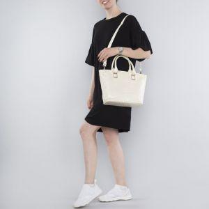 Сумка женская, 2 отдела на молнии, наружный карман, цвет бежевый
