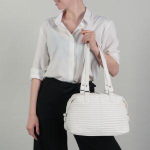 Сумка женская, отдел на молнии, наружный карман, цвет белый