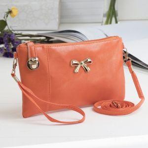 Клатч женский, 1 отдел с перегородкой, наружный карман, с ручкой, длинный ремень, цвет оранжевый