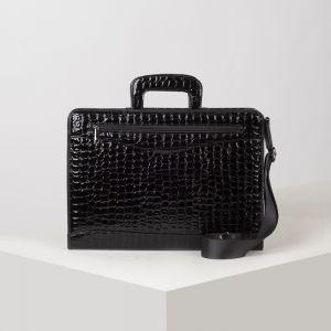 Портфель, 5 отделов на молнии, отдел для планшета, 2 наружных кармана, длинный ремень, цвет чёрный