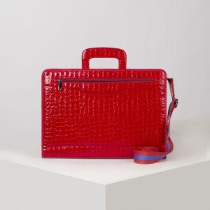 Портфель, 5 отделов на молнии, отдел для планшета, 2 наружных кармана, длинный ремень, цвет ярко-красный