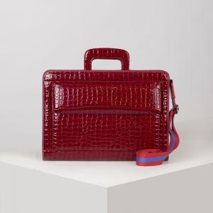 Портфель, 5 отделов на молнии, отдел для планшета, 3 наружных кармана, длинный ремень, цвет тёмно-красный