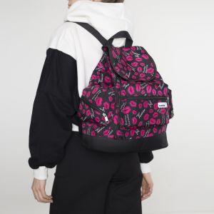 Рюкзак молодёжный, отдел на шнурке, 3 наружных кармана, цвет чёрный/розовый