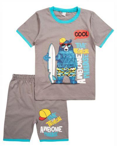 "Комплект для мальчика 4-8 лет BONITO ""Bear surfer"" серый"