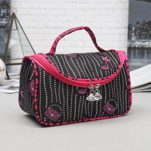 Косметичка-сумочка, отдел на молнии, зеркало, цвет чёрный