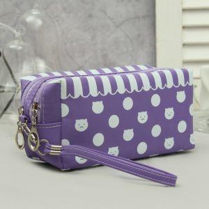 Косметичка, 2 отдела на молниях, с ручкой, цвет фиолетовый