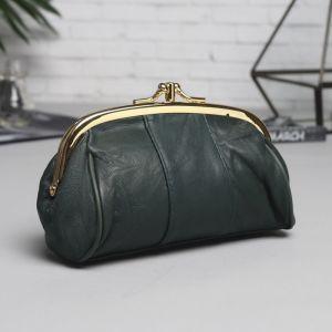 Косметичка-фермуар, 2 отдела на рамке, 2 наружных кармана, цвет зелёный