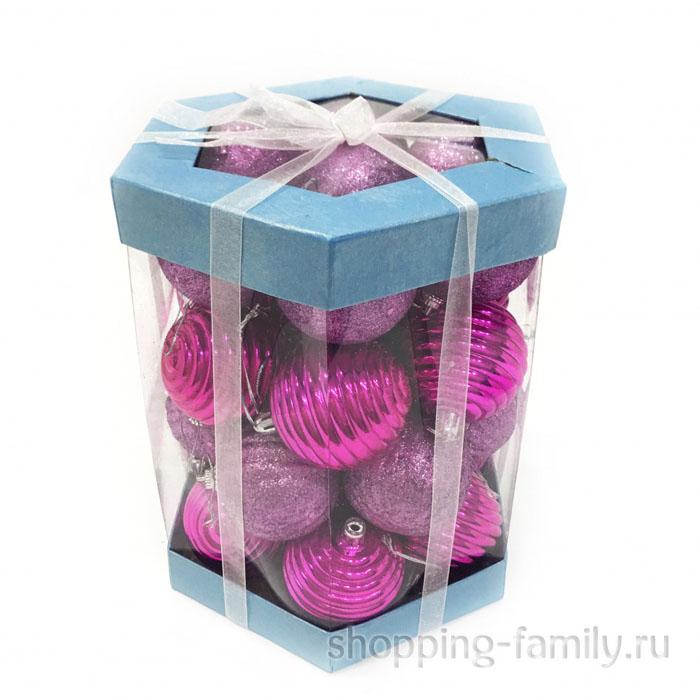 Набор елочных игрушек Шары 6 см, 28 шт. Цвет Темно-розовый