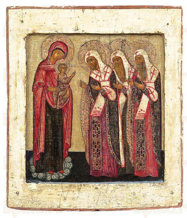 Икона Богородица с младенцем и предстоящими ростовскими чудотворцами.
